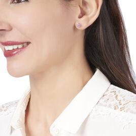 Boucles D'oreilles Puces Parmeclos Or Jaune Amethyste - Clous d'oreilles Femme | Histoire d'Or