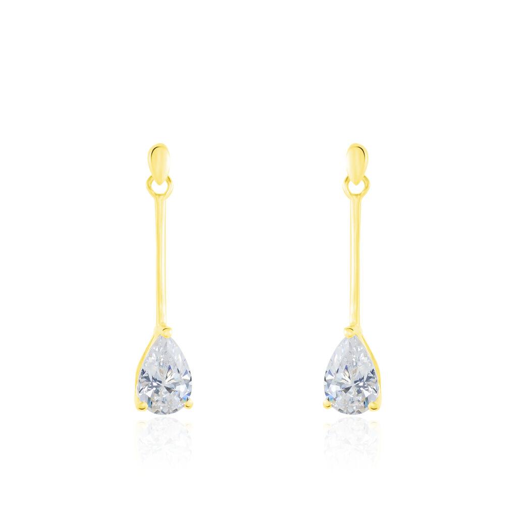 Boucles D'oreilles Pendantes Goutte Or Jaune Oxyde De Zirconium - Boucles d'oreilles pendantes Femme   Histoire d'Or
