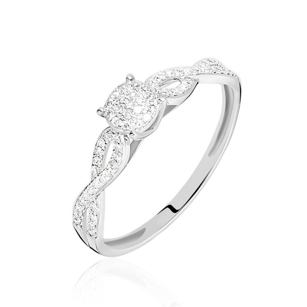 Bague Roseline Or Blanc Diamant - Bagues solitaires Femme   Histoire d'Or