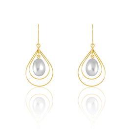 Boucles D'oreilles Pendantes Martyna Or Jaune Perle De Culture - Boucles d'oreilles pendantes Femme | Histoire d'Or