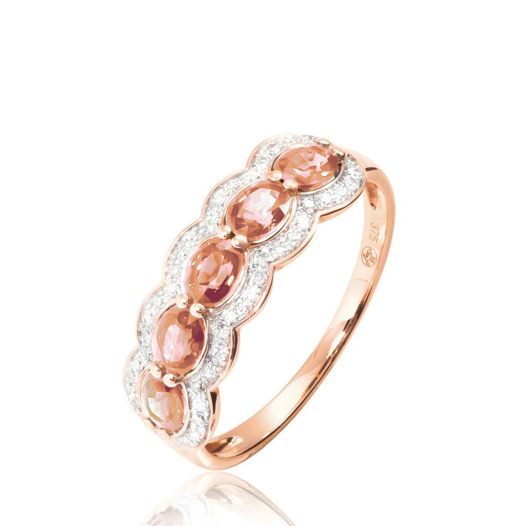 Bague Margaux Or Rose Morganite Et Diamant - Bagues avec pierre Femme   Histoire d'Or