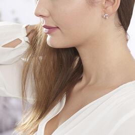 Boucles D'oreilles Puces Axella Argent Blanc Oxyde De Zirconium - Boucles d'oreilles fantaisie Femme | Histoire d'Or