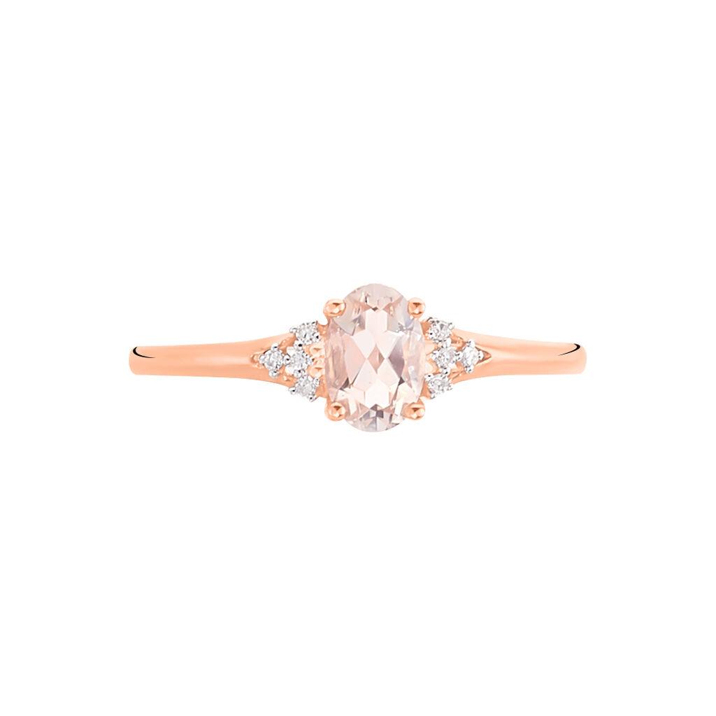 Bague Urbaine Or Rose Morganite Et Diamant - Bagues avec pierre Femme   Histoire d'Or
