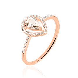 Bague Or Rose Morganite Et Diamant - Bagues avec pierre Femme   Histoire d'Or