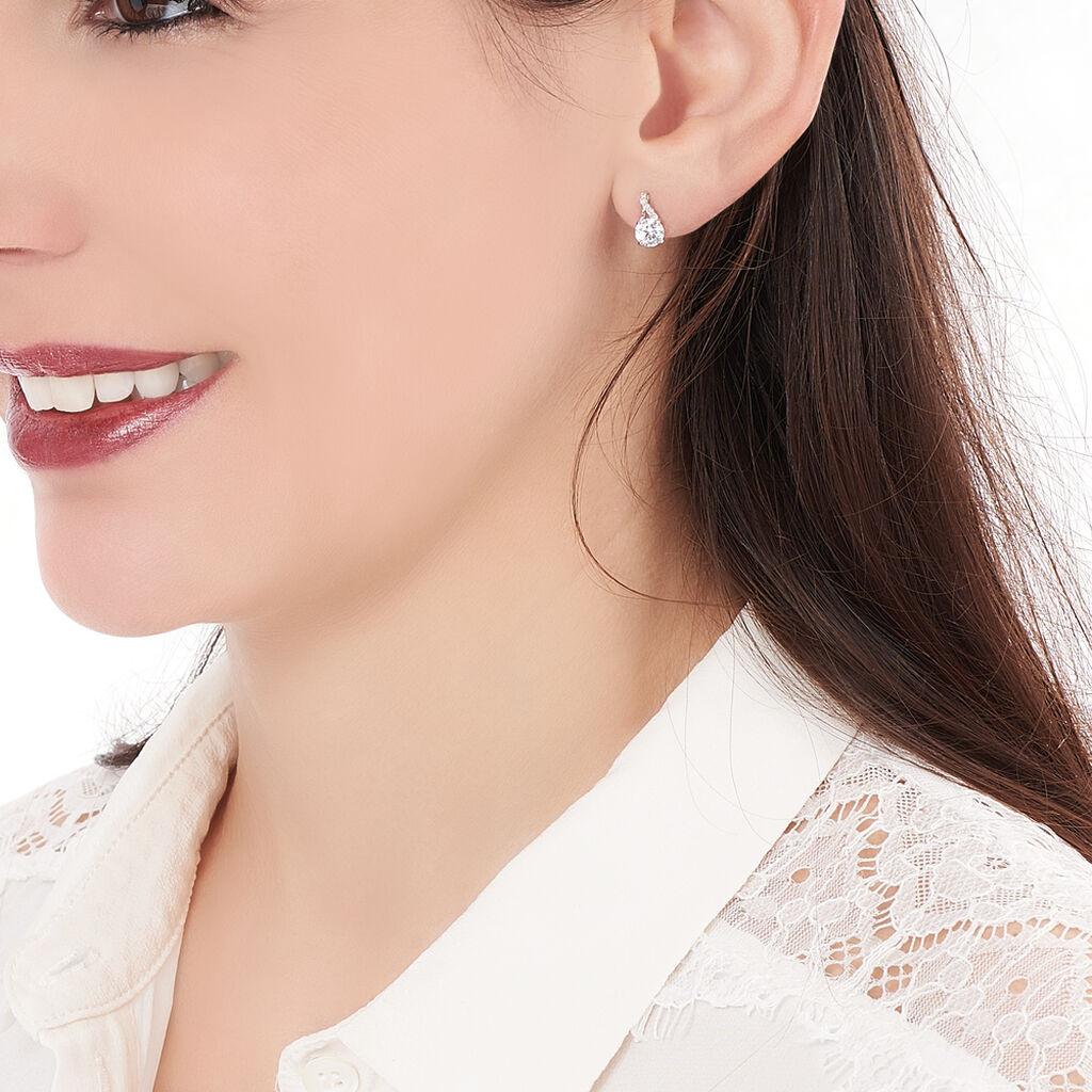 Boucles D'oreilles Pendantes Idylla Argent Blanc Oxyde De Zirconium - Boucles d'oreilles fantaisie Femme | Histoire d'Or