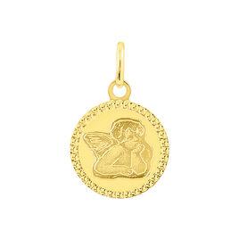 Pendentif Ange Rond Cisele Or Jaune - Pendentifs Famille   Histoire d'Or