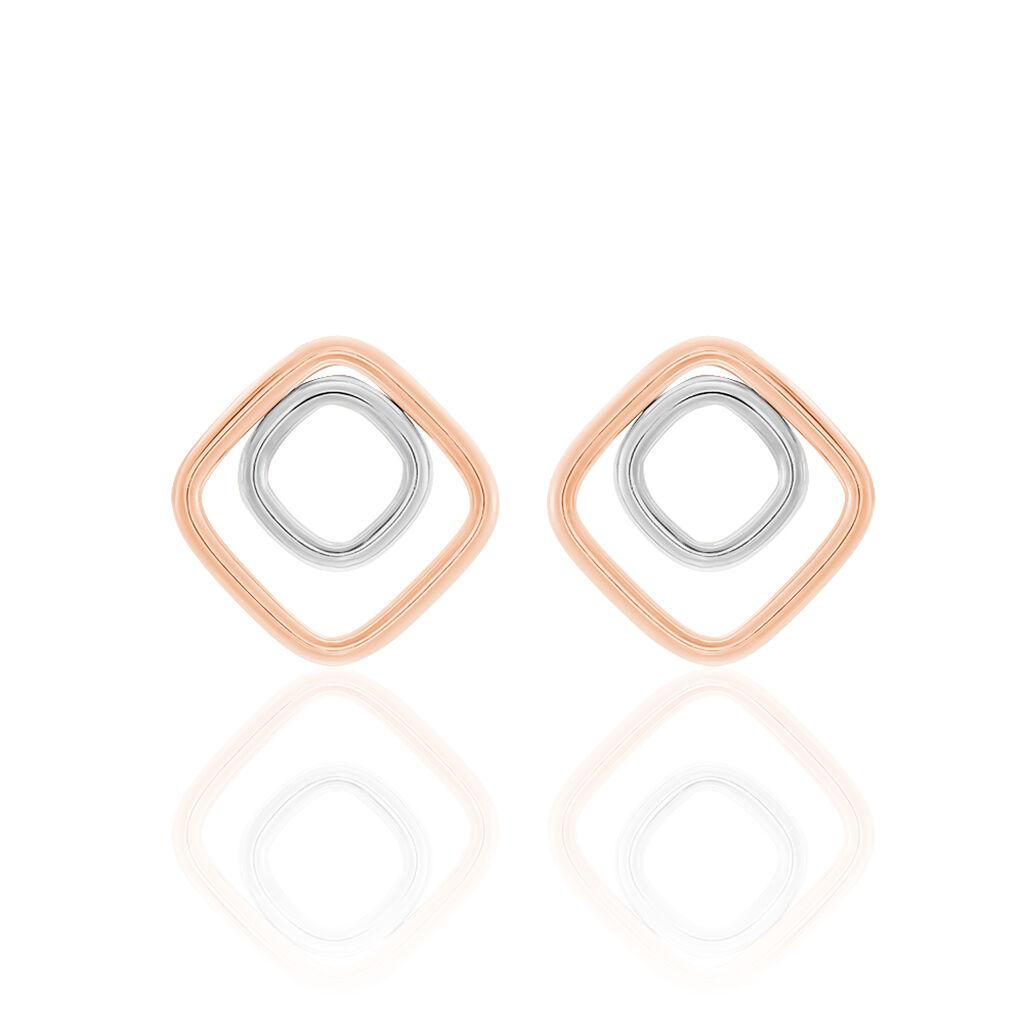 Boucles D'oreilles Pendantes Artahe Carree Or Bicolore - Boucles d'oreilles pendantes Femme | Histoire d'Or