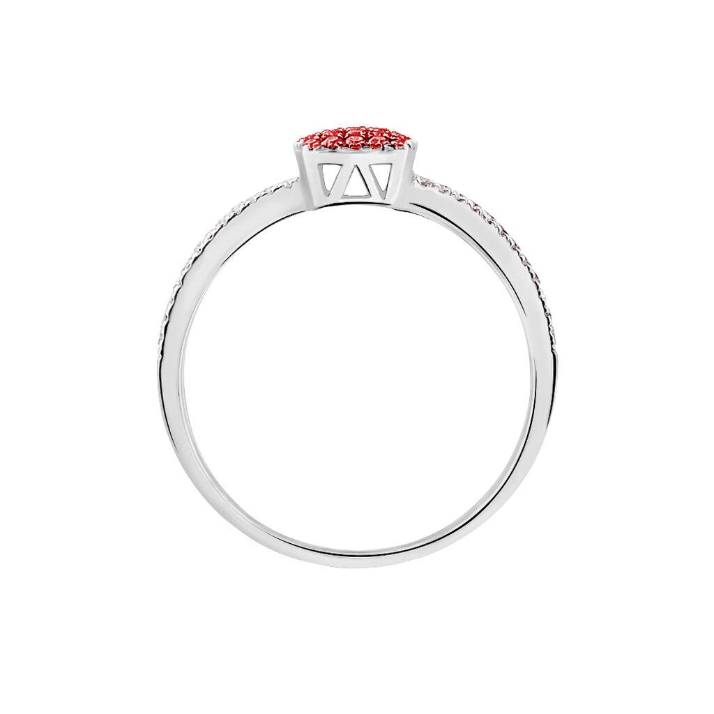 Bague Aude Or Blanc Rubis Et Diamant - Bagues avec pierre Femme   Histoire d'Or