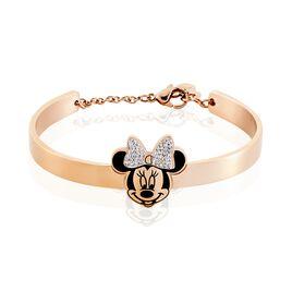 Bracelet Jonc Disney Acier Doré Rose Cristaux - Bracelets fantaisie Femme   Histoire d'Or