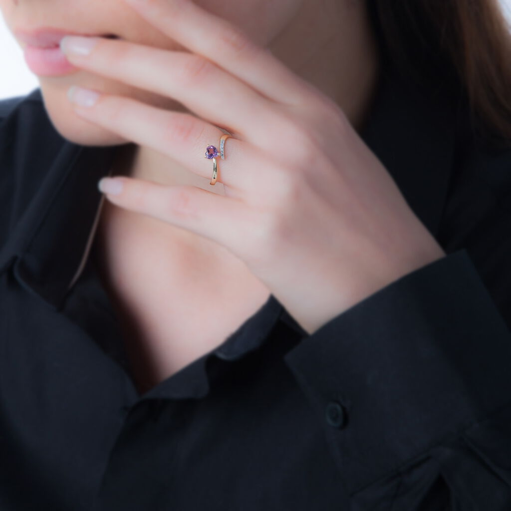 Bague Eva Or Jaune Amethyste Et Oxyde De Zirconium - Bagues Coeur Femme | Histoire d'Or