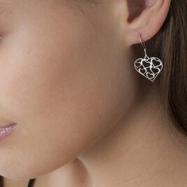 Boucles D'oreilles Pendantes Elda Argent Blanc - Boucles d'Oreilles Coeur Femme | Histoire d'Or