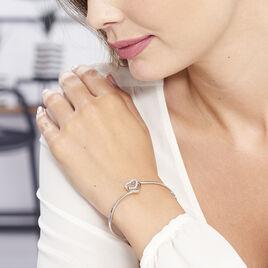 Bracelet Jonc Veronike Argent Blanc Oxyde De Zirconium - Bracelets Coeur Femme   Histoire d'Or
