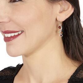 Boucles D'oreilles Pendantes Alexa Argent Blanc Ambre - Boucles d'oreilles fantaisie Femme | Histoire d'Or