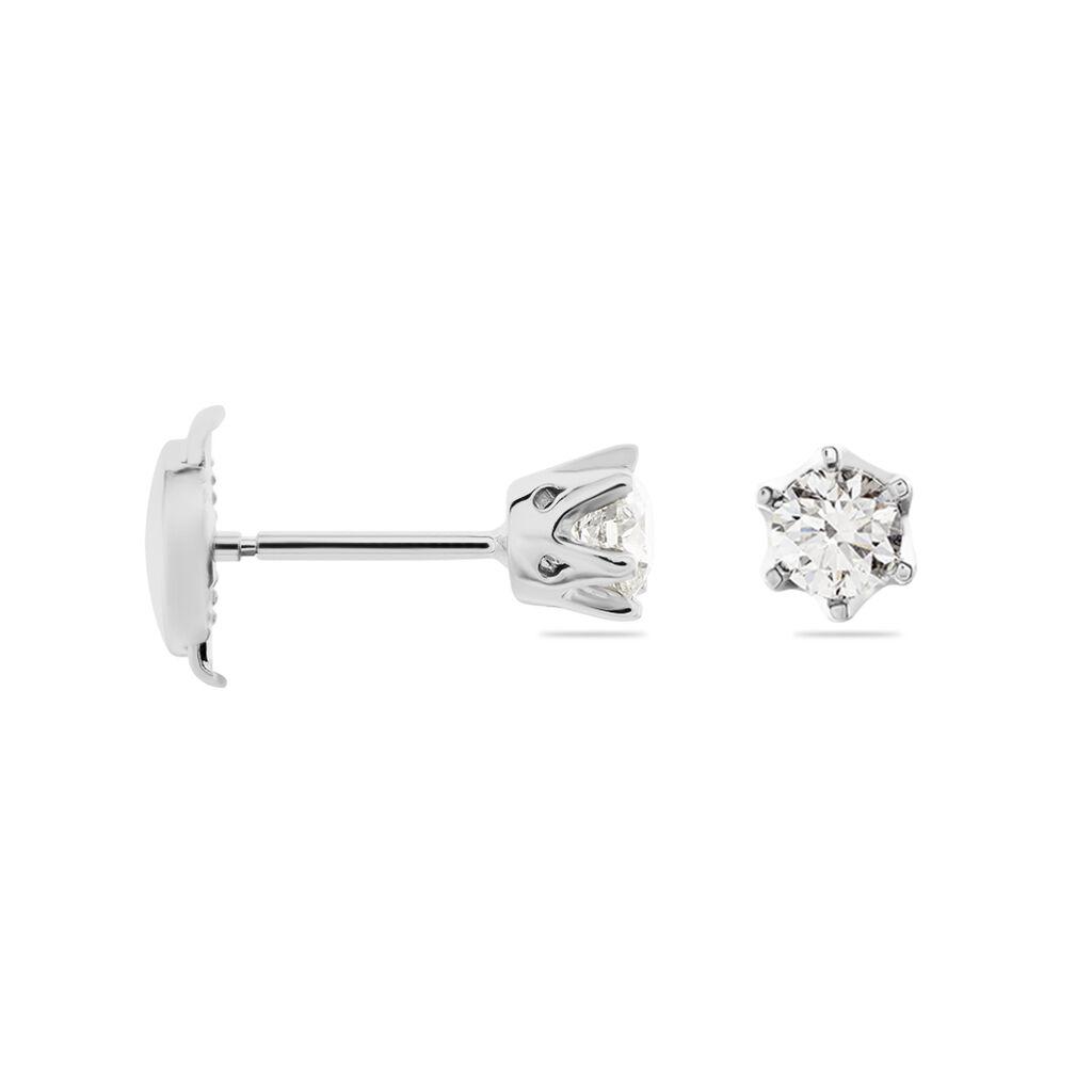 Boucles D'oreilles Puces Natalia Pl Platine Blanc Diamant - Clous d'oreilles Femme | Histoire d'Or