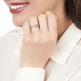 Bague Iana Or Rose Amethyste Et Quartz Et Diamant - Bagues avec pierre Femme   Histoire d'Or