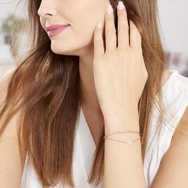 Bracelet Jonc Habibatou Argent Rose Oxyde De Zirconium - Bracelets Coeur Femme | Histoire d'Or