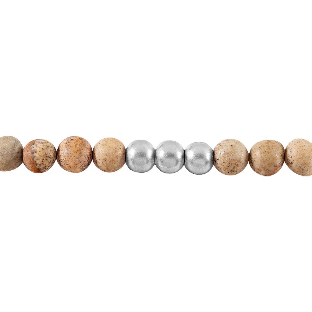 Bracelet Adonis Acier Blanc Jaspe Africain - Bracelets fantaisie Homme | Histoire d'Or