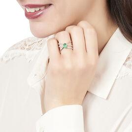 Bague Or Blanc Ava Croisee Emeraude Diamants - Bagues avec pierre Femme   Histoire d'Or
