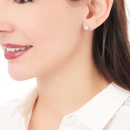 Boucles D'oreilles Puces Ayana Argent Blanc - Boucles d'oreilles fantaisie Femme | Histoire d'Or