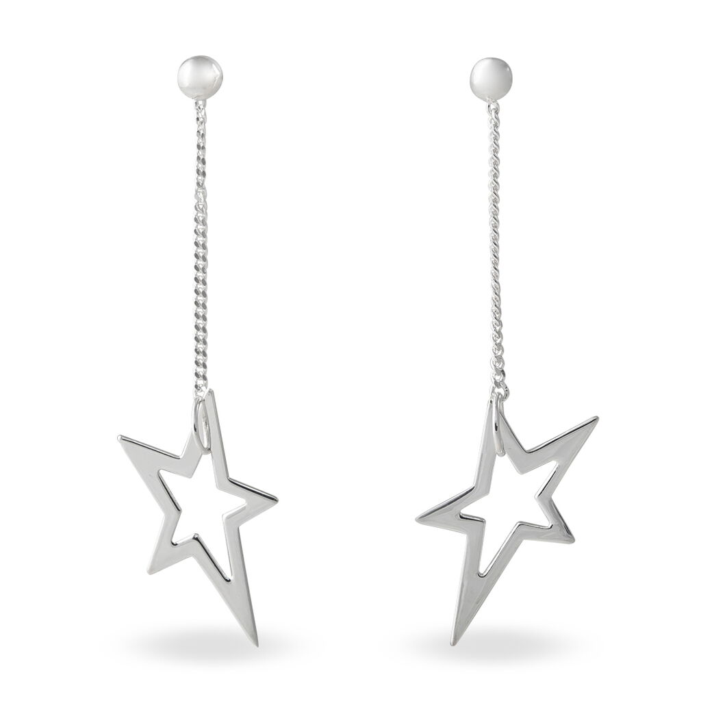 Boucles D'oreilles Pendantes Eloisa Argent Blanc - Boucles d'Oreilles Etoile Femme   Histoire d'Or