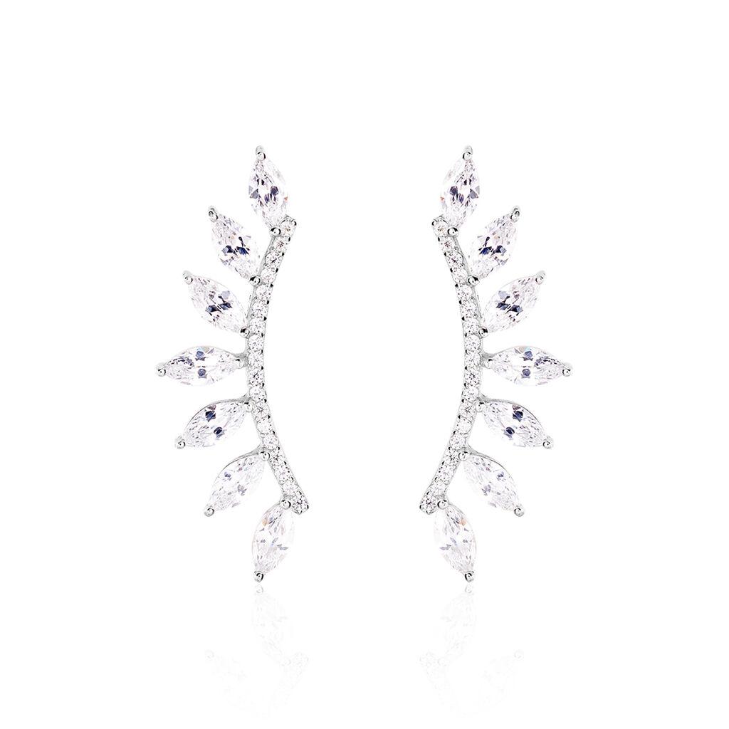 Bijoux D'oreilles Lip Dauphine Argent Blanc Oxyde De Zirconium - Boucles d'oreilles fantaisie Femme | Histoire d'Or