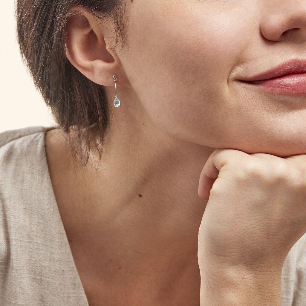 Boucles D'oreilles Pendantes Goutte Or Blanc Topaze - Boucles d'oreilles pendantes Femme   Histoire d'Or