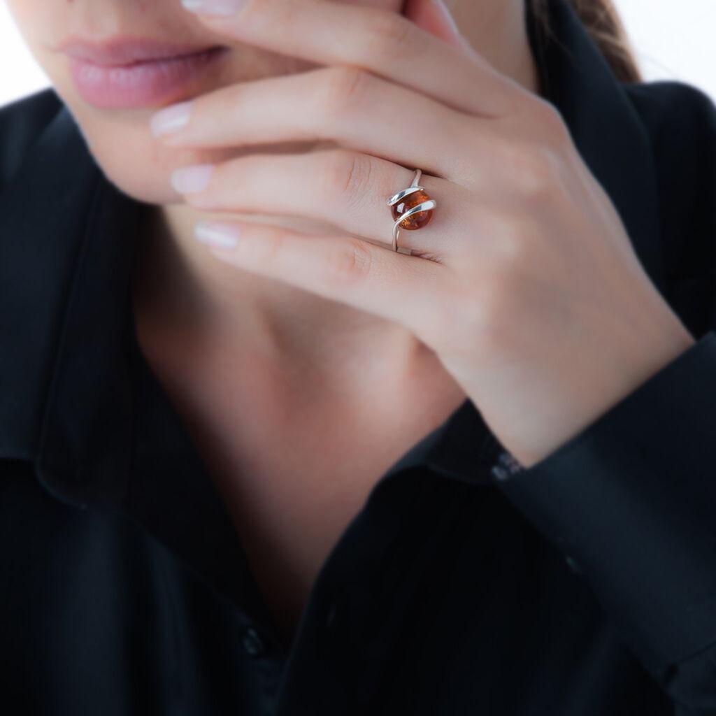 Bague Viriane Argent Blanc Ambre - Bagues avec pierre Femme   Histoire d'Or
