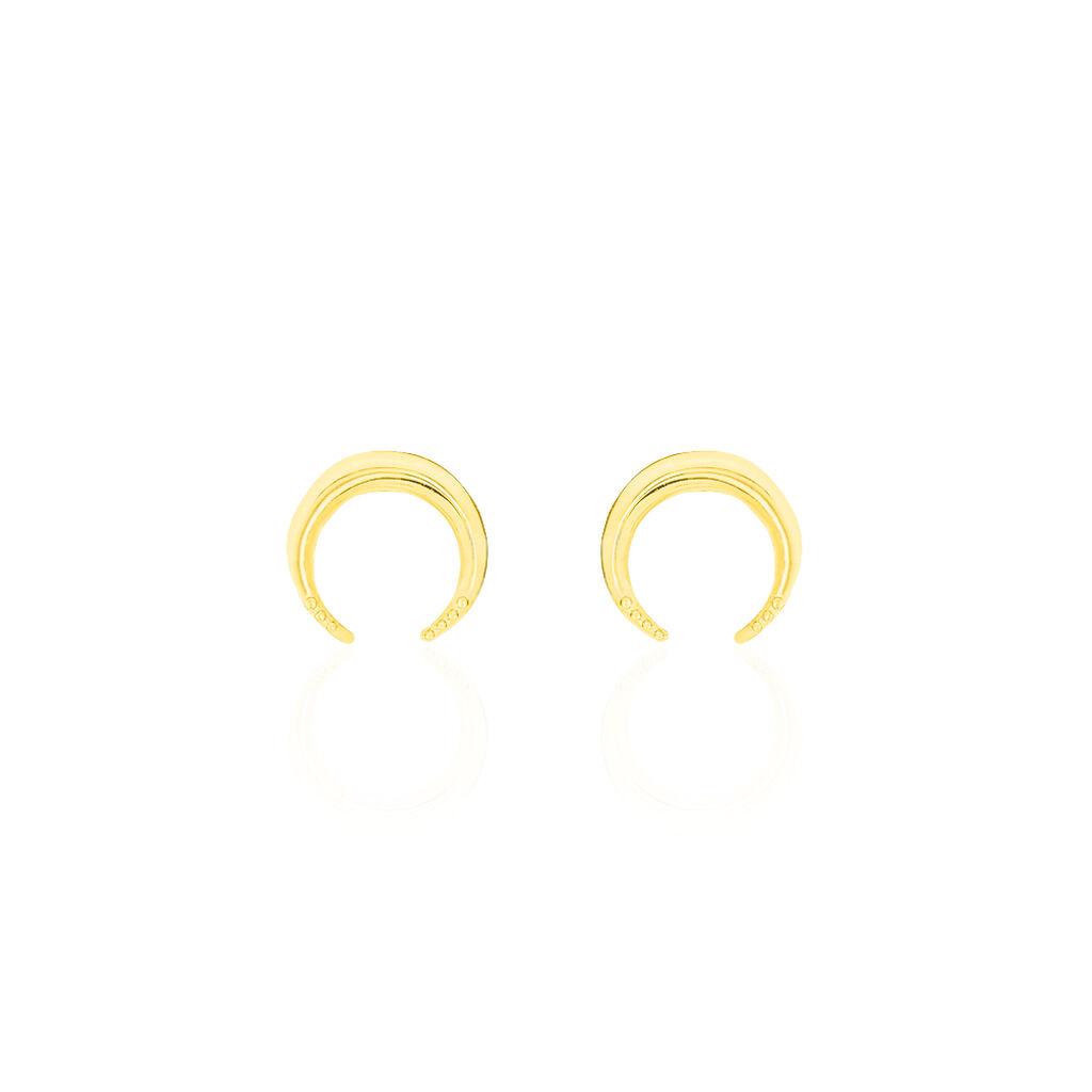 Boucles D'oreilles Puces Hermantine Or Jaune - Boucles d'Oreilles Lune Femme   Histoire d'Or