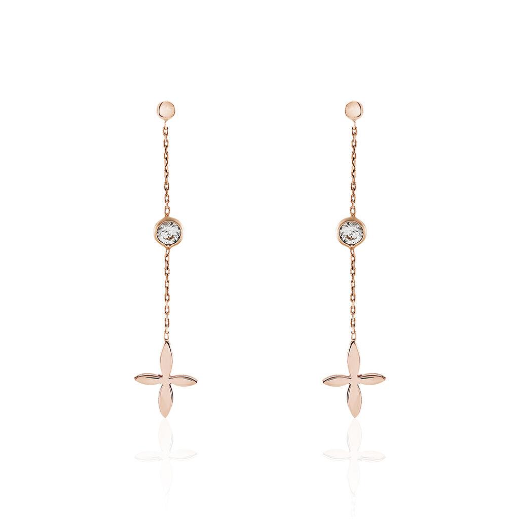 Boucles D'oreilles Pendantes Clarissa Argent Rose Oxyde De Zirconium - Boucles d'oreilles fantaisie Femme | Histoire d'Or