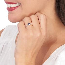 Bague Solitaire Michaela Or Blanc Saphir Et Diamant - Bagues solitaires Femme | Histoire d'Or
