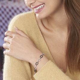 Bracelet Rhodie Argent Blanc Oxyde De Zirconium Et Céramique - Bijoux Femme   Histoire d'Or