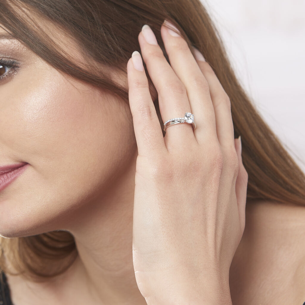 Bague Precious Argent Blanc Oxyde De Zirconium - Bagues solitaires Femme | Histoire d'Or