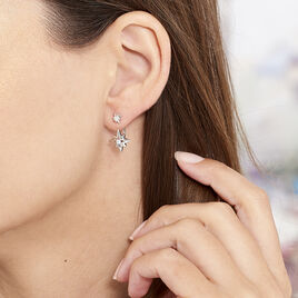 Boucles D'oreilles Pendantes Beverlie Argent Blanc Oxyde De Zirconium - Boucles d'Oreilles Etoile Femme | Histoire d'Or