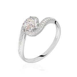 Bague Solitaire Coralia Or Blanc Diamant Synthetique - Bagues avec pierre Femme | Histoire d'Or