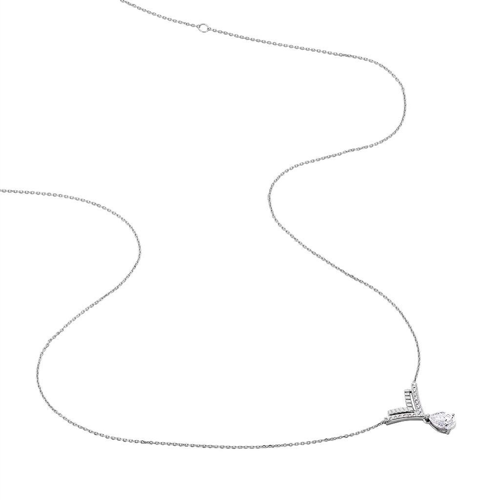 Collier Marycka Or Blanc Oxyde De Zirconium - Bijoux Femme   Histoire d'Or