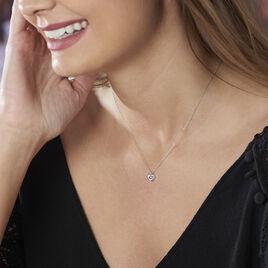 Collier Coeur Serti Clos Or Blanc Oxyde De Zirconium - Colliers Coeur Femme | Histoire d'Or