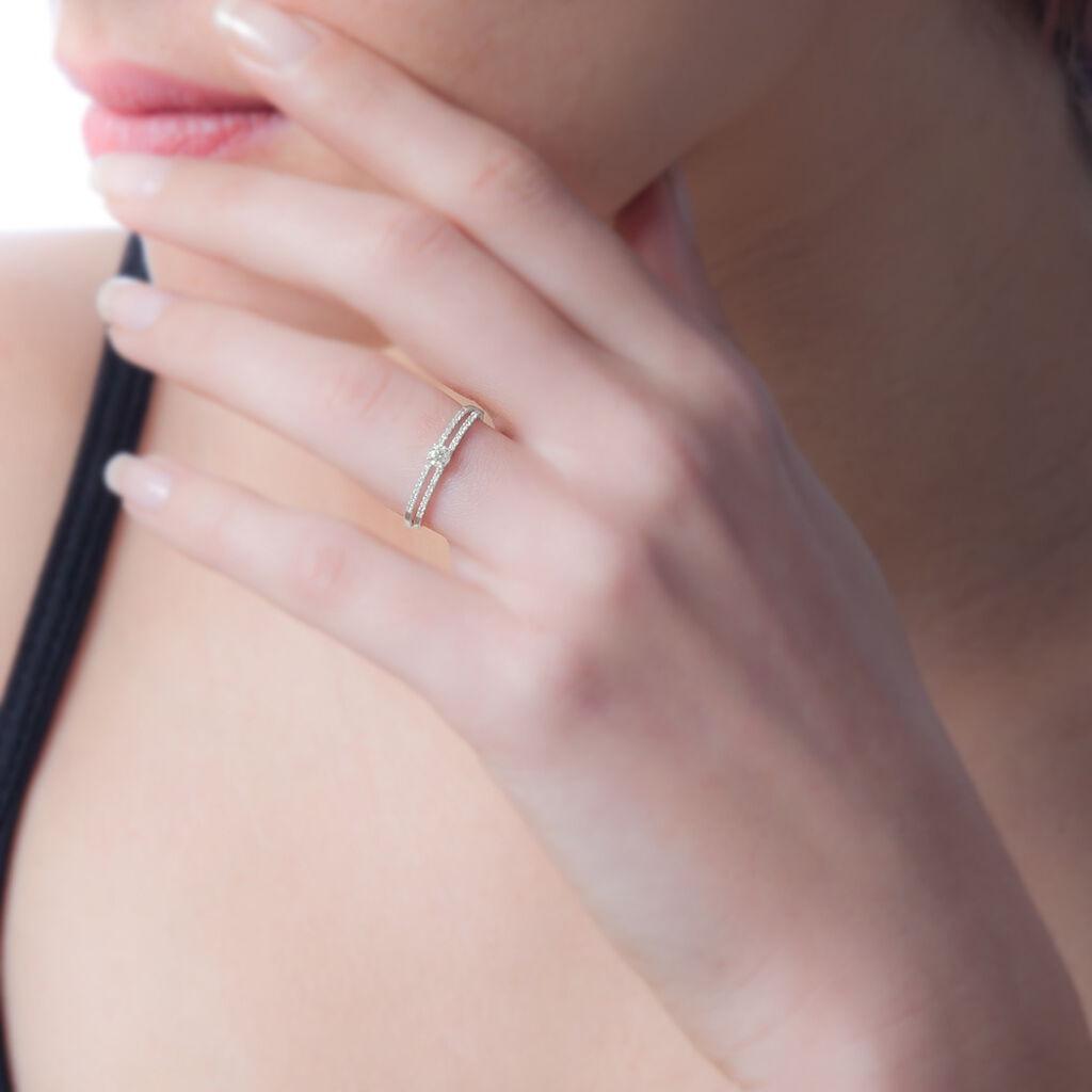 Bague Aisse Or Blanc Oxyde De Zirconium - Bagues solitaires Femme   Histoire d'Or