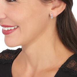 Boucles D'oreilles Puces Liyanna Or Blanc Topaze Et Oxyde De Zirconium - Boucles d'oreilles pendantes Femme   Histoire d'Or