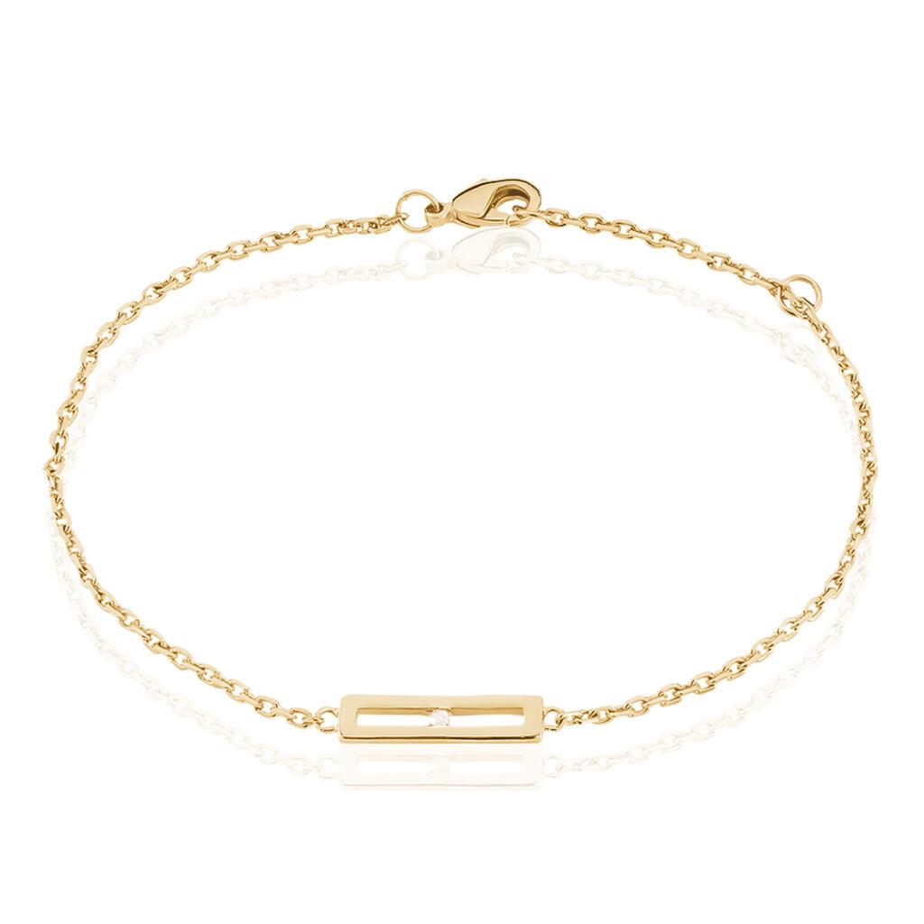 Bracelet Liloo Plaque Or Jaune Diamant - Bracelets fantaisie Femme | Histoire d'Or