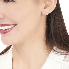 Boucles D'oreilles Puces Luann Or Blanc Topaze - Boucles d'Oreilles Coeur Femme | Histoire d'Or