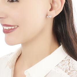 Boucles D'oreilles Puces Giada Argent Blanc Oxyde De Zirconium - Boucles d'oreilles fantaisie Femme   Histoire d'Or