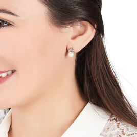 Boucles D'oreilles Pendantes Agustina Argent Perle Culture Et Oxyde - Boucles d'Oreilles Plume Femme   Histoire d'Or