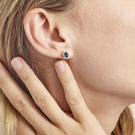 Boucles D'oreilles Or Blanc Quintilla Topazes London Blue Et Oxydes - Boucles d'oreilles pendantes Femme | Histoire d'Or