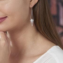 Boucles D'oreilles Pendantes Tylee Argent Blanc - Boucles d'oreilles fantaisie Femme   Histoire d'Or