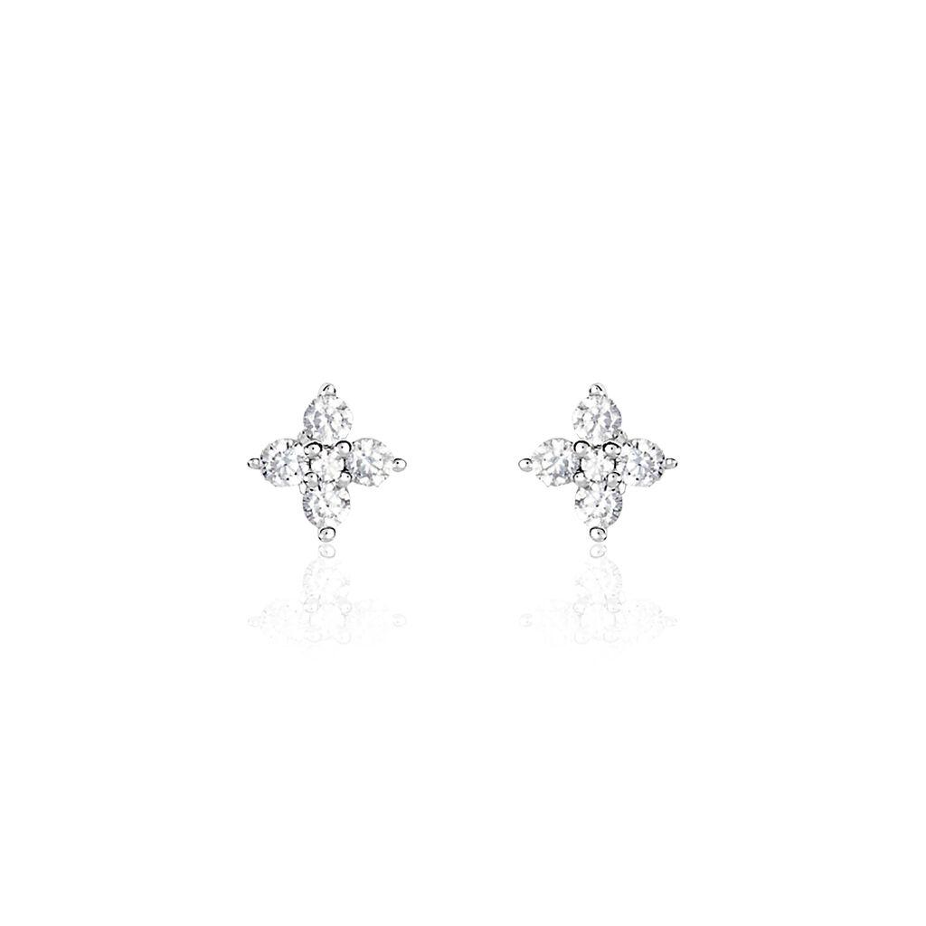 Boucles D'oreilles Puces Winter Flower Or Blanc Oxyde De Zirconium - Boucles d'Oreilles Trèfle Femme   Histoire d'Or