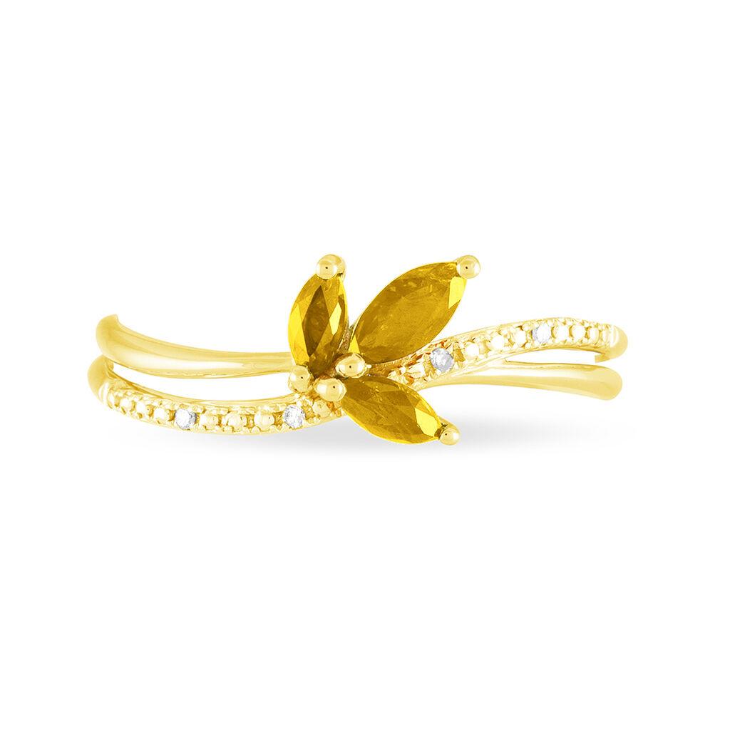 Bague Maura Or Jaune Citrine Et Diamant - Bagues avec pierre Femme   Histoire d'Or