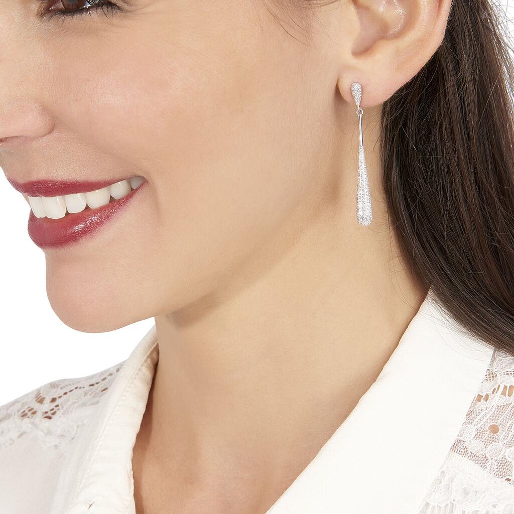 Boucles D'oreilles Pendantes Chandell Argent Blanc Oxyde De Zirconium - Boucles d'oreilles pendantes Femme | Histoire d'Or