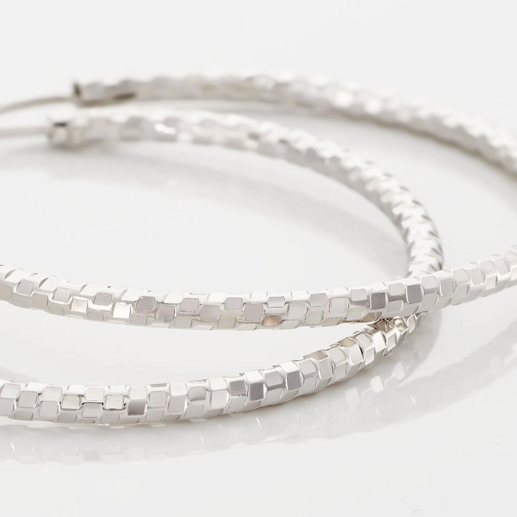 Créoles Agathe Diamantees Argent Blanc - Boucles d'oreilles créoles Femme | Histoire d'Or