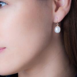 Boucles D'oreilles Pendantes Ellynaae Or Jaune Perle De Culture - Boucles d'oreilles pendantes Femme | Histoire d'Or