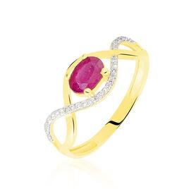 Bague Souhila Or Jaune Rubis Et Diamant - Bagues avec pierre Femme   Histoire d'Or